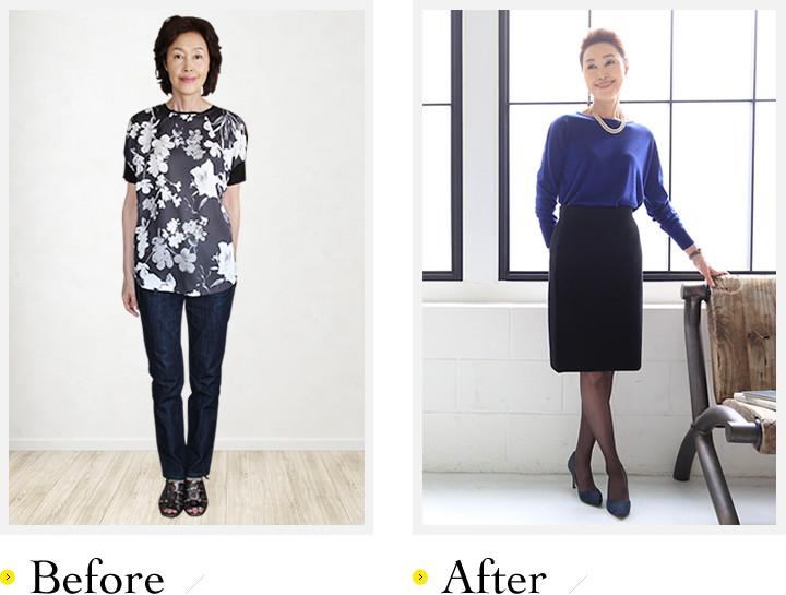 おばちゃんっぽい服は嫌い!というMasakoさん。シンプルなタイトスカートにニットをイン。小綺麗な大人のスタイルが完成しました。